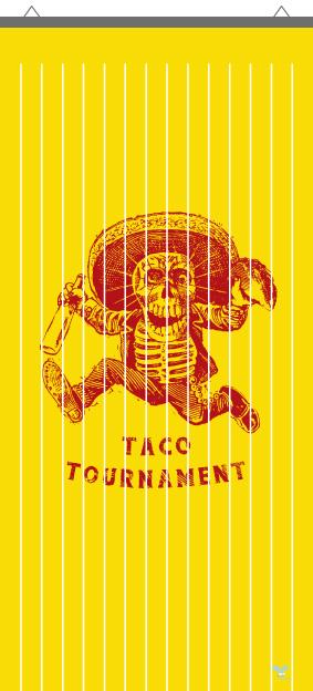 Rideau à mouche imprimé Taco rouge sur jaune par mon-rideau-a-mouche.com en PVC imprimé haute qualité avec support de fixation en alu.